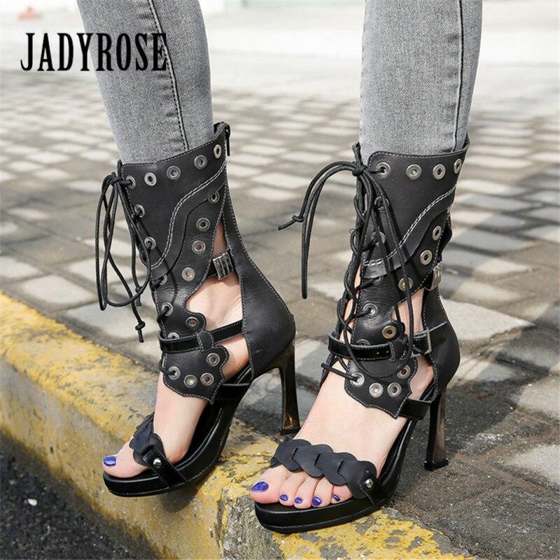 Jady Rose Sexy noir femmes gladiateur sandales 10 CM chaussures à talons hauts femme Rivets cloutés été bottes femmes plate-forme pompes
