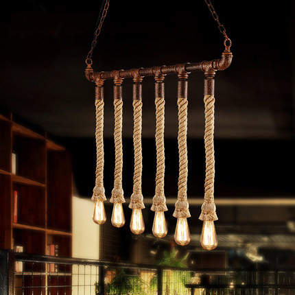 American Vintage Hemp Rope Pendant Lights Fixture Country Retro Hanging Lamps Restaurant Cafes Pub Bar Dining Room Droplights american style pendant lights personalized artistic creativity restaurant bar hemp rope pendant light antique dining room set