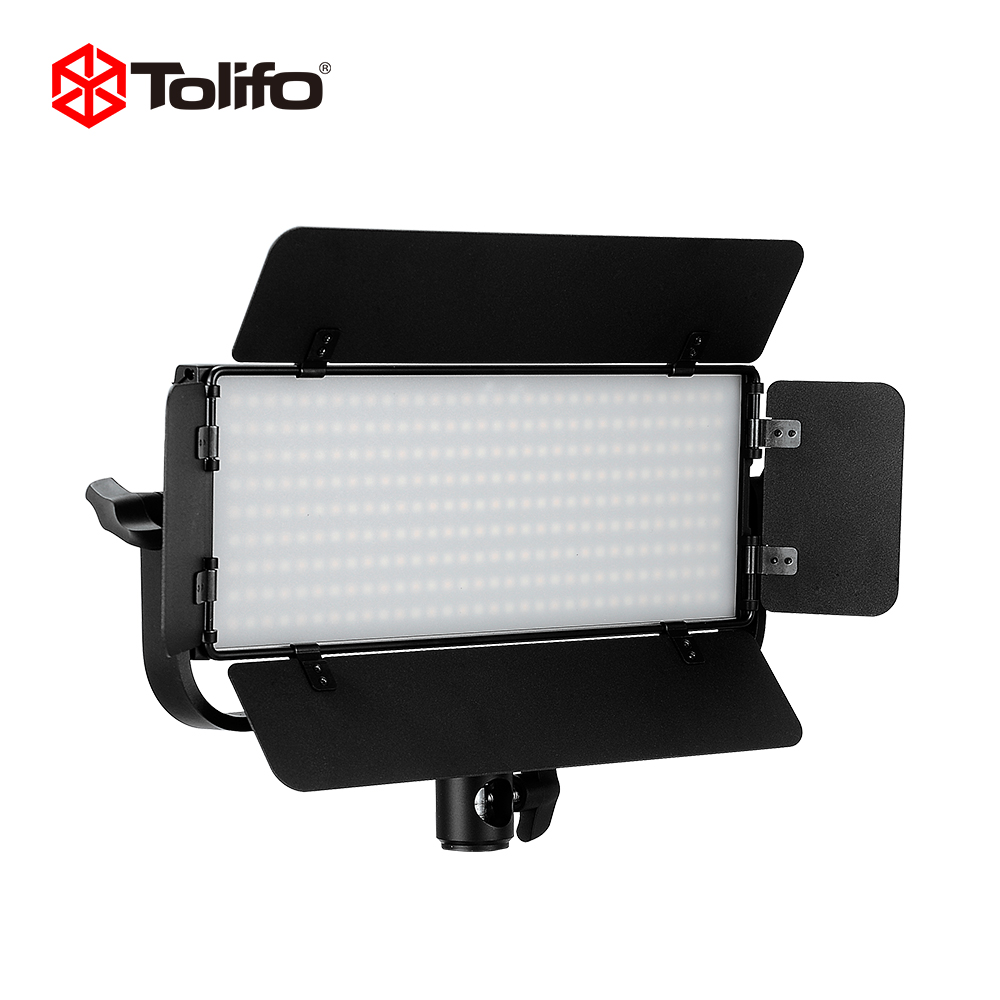 Tolifo GK-30B Bi-color Temperature 2.4G Wirelesss Remote Control LED Video Camera Light with Barndoors and U Yoke Mount for DSLR
