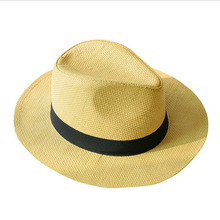 New Summer Hats for Men Women Straw Panama Solid Plain Wide Brim Beach with Band Unisex Fedora Sun Hat