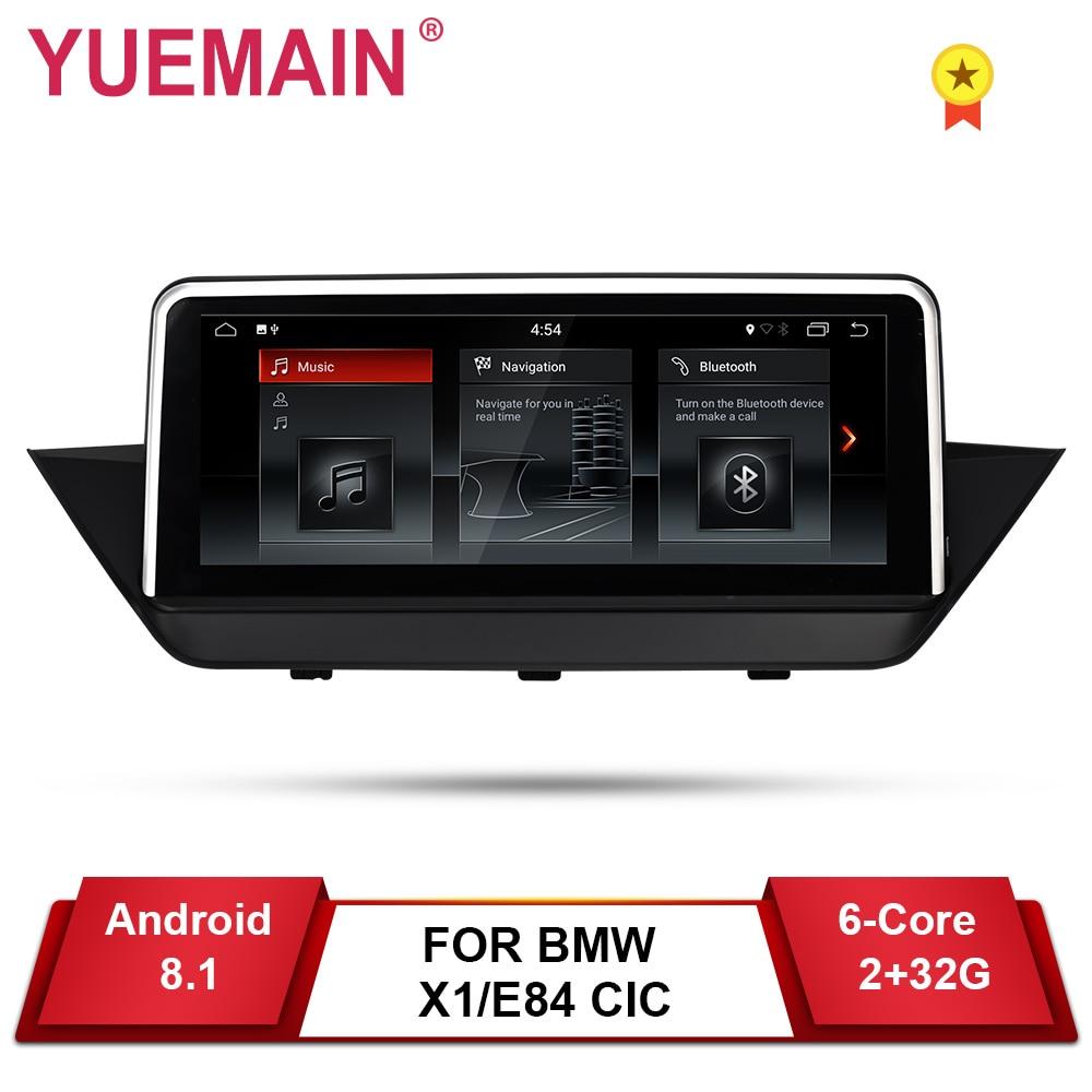 Lecteur DVD GPS voiture YUEMAIN Android 8.1 pour BMW X1 E84 2009-2015 CIC Navigation Auto Raido multimédia iDrive 2 GB + 32 GB caméra
