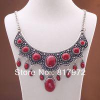 Fascino Elegante Retro tibet argento intagliato Fiore del merletto intarsio Corallo Rosso Del Branello Bib Ciondola collana a catena e 6N0100