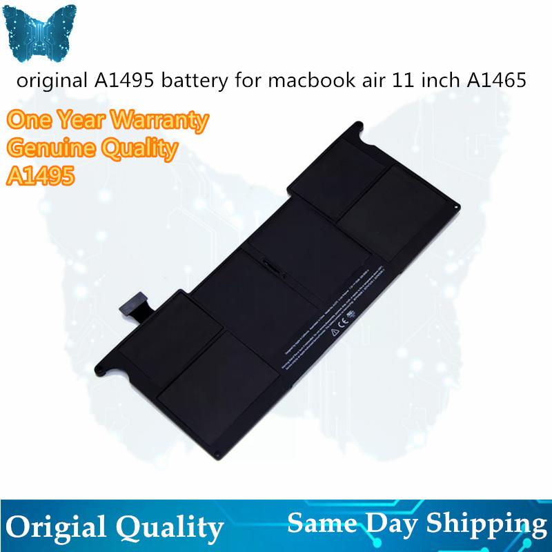 Genuine Laptop 39Wh 7.6V A1495 Battery For  MacBook Air A1465 battery A1370 11'' inch Mid2011 2012 2013 Early 2014 2015-in Laptop Batteries from Computer & Office