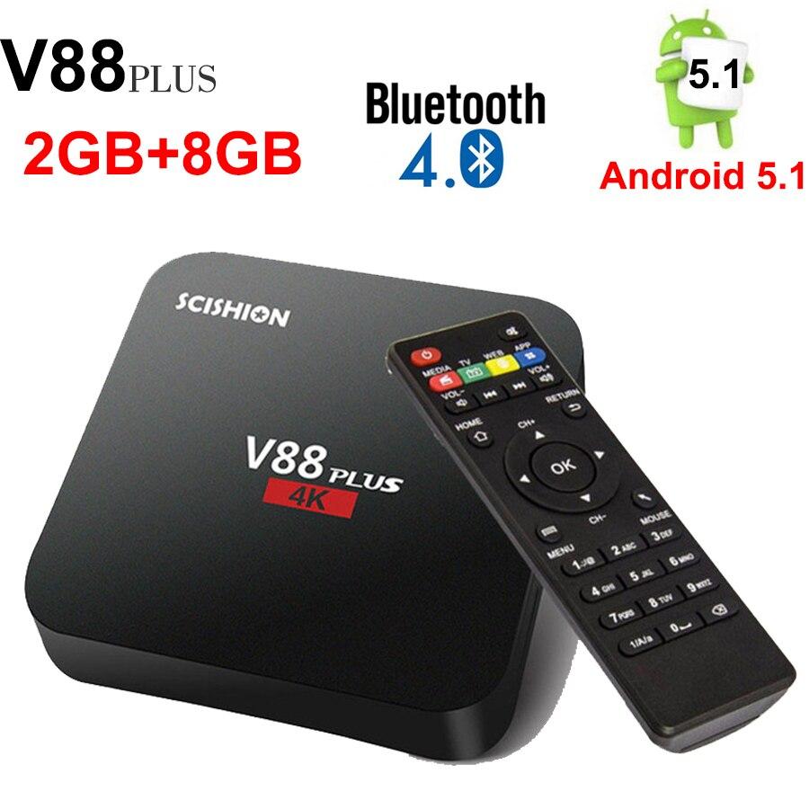 SCISHION V88 PLUS Android 5.1 Smart TV Box Rockchip 3229 Quad-Core 4 K H.265 BT4