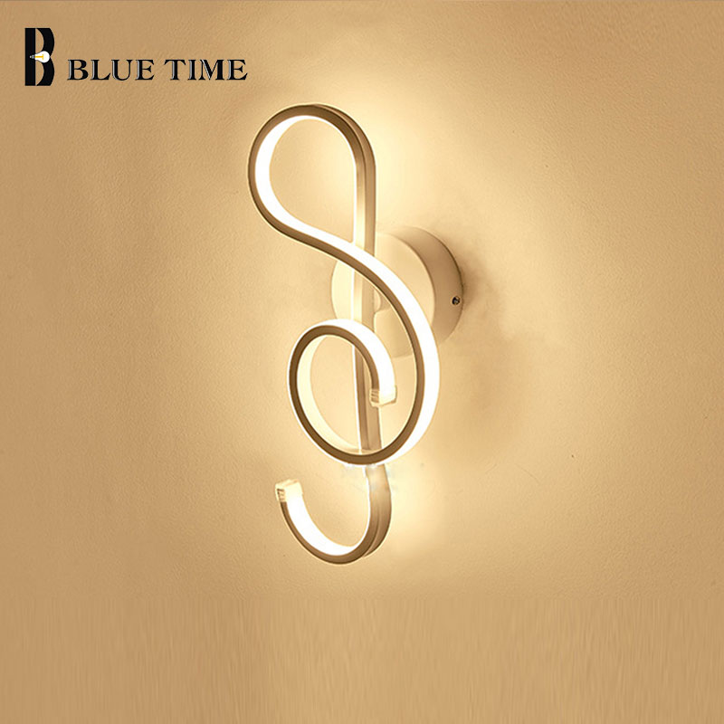 Blue Time Fashion White Black Body Musical Note LED Wall Lamps For Bedroom Living Room Dining