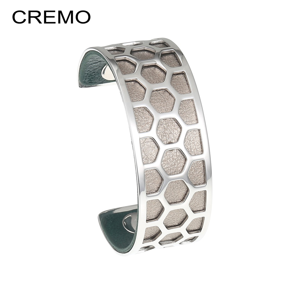Cremo Honeycomb Stainless Steel Bracelets & Bangles Cuffs Personalized Reversible 25mm Leather Band Bracelet Pulseira-Feminina