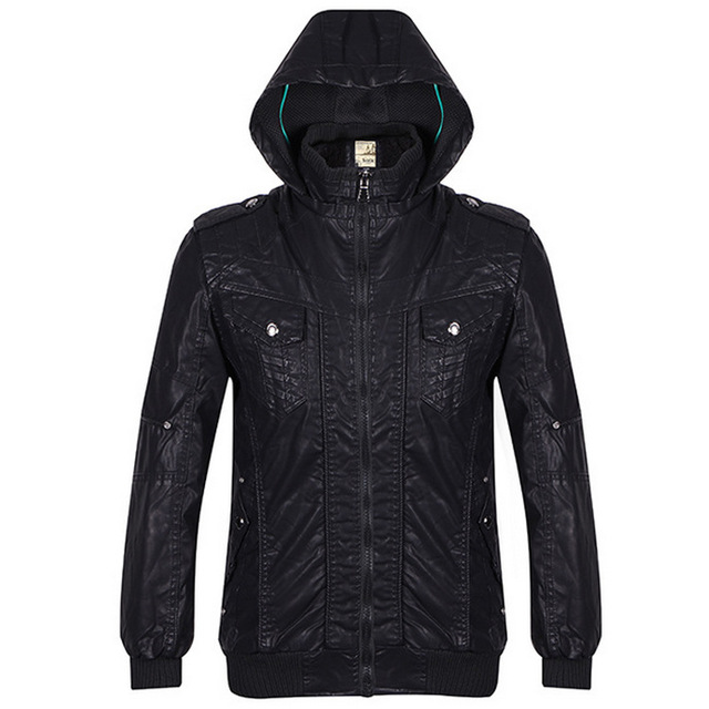 Autumn new men 's fashion thickening warm jacket simple business casual leather jacket
