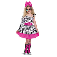 Kids Halloween Modern Girl Cosplay Costume Leopard Dress Pink Hairband Suit for Stage Performance Children's Day