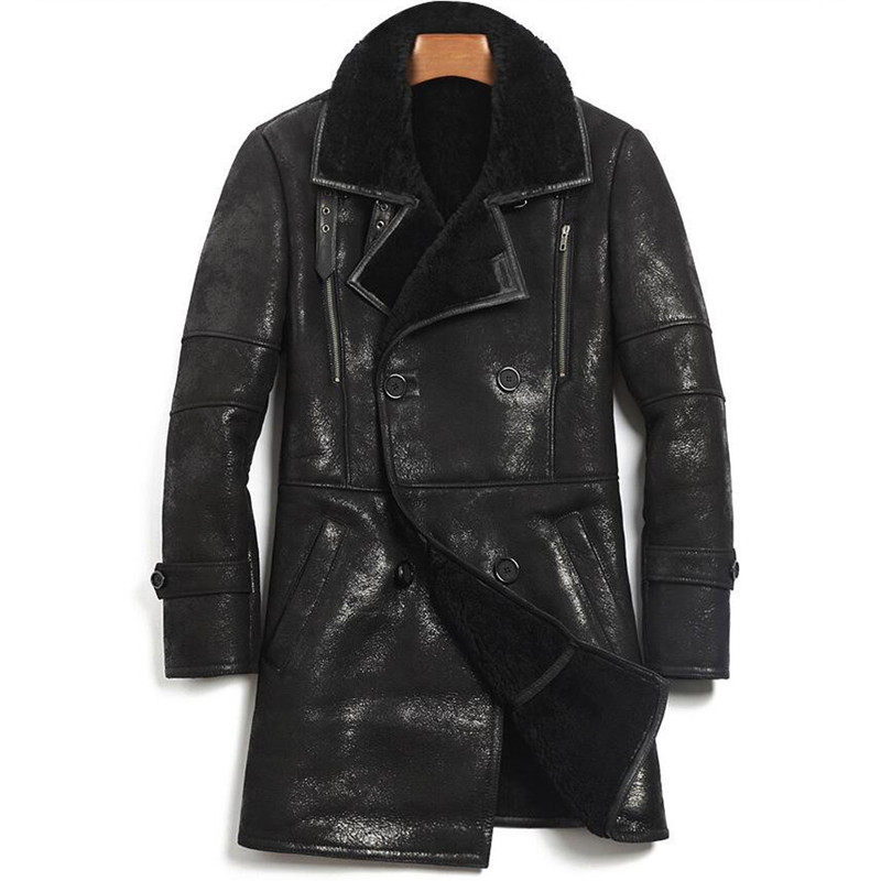 Shearling Coat Harley Damson Double-Breasted Russian Winter Genuine XXXXL Casual Thick