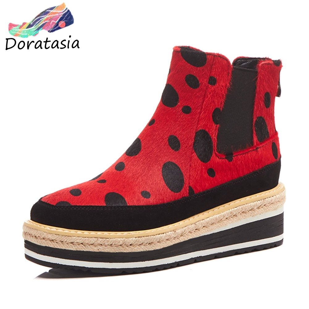 DORATASIA 2019 Spring Fashion Girl Polka Dot Platform Ankle Boots Women Natural Suede Brand Horsehair Wedges