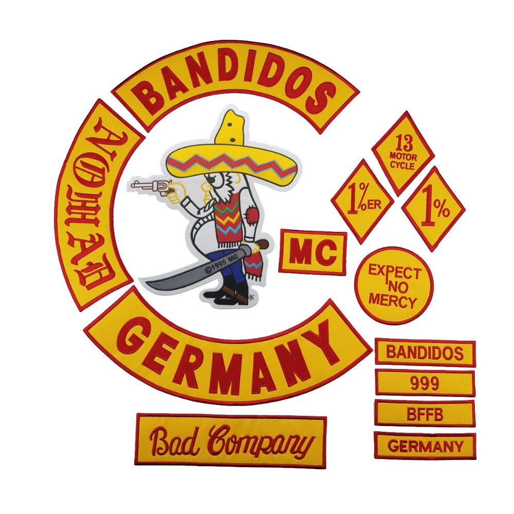 Hot Sale Mixed 14pcs Full Set For Bandidos MC Embroidered Patch Iron On Jacket Leather Vest Rider Punk Full Back Size Patch G046