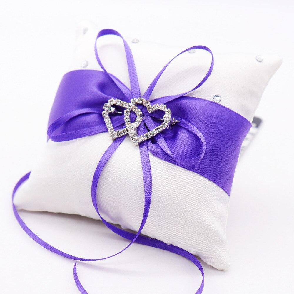 1pc Wedding Ring Pillow Wedding Decoration Party Supplies Satin Ribbon Bowknot Rhinestones Double Heart Cushion European DIY Dec