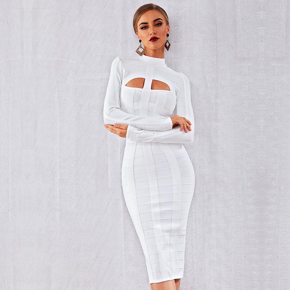 Elegant White Long Sleeve Sheath Bodycon Bandage Dress