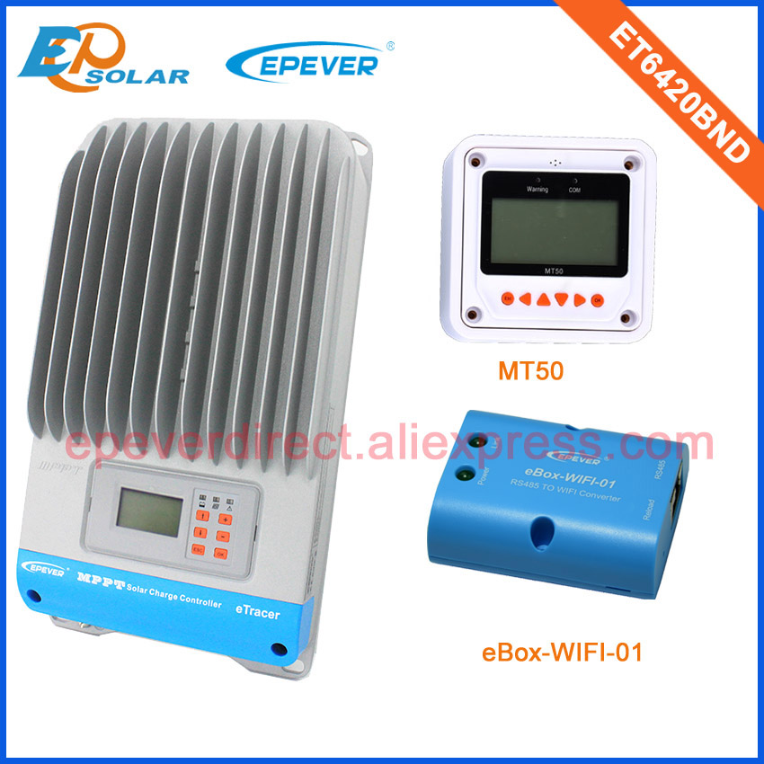 panel power charge controller mppt 60A ET6420BND with the white MT50 and wifi function for mobile phone use Max Pv Input 200v micro inverters on grid tie with mppt function 600w home solar system dc22 50v input to ac output for countries standard use