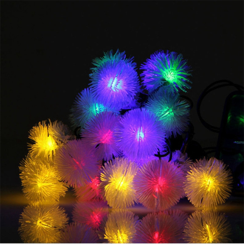 3M 20Leds Snowflake Furry Ball Chuzzle Ball Battery String Light for Indoor Home Lawn Garden Patio Party and Halloween