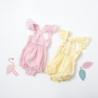 2017 Spring Toddler Baby Girls Boys Ruffles Overalls Kids Baby Linen Clothing Cute Baby Rompers One