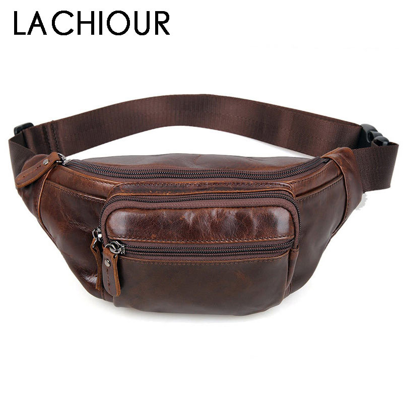 LACHIOUR Brand  Men Genuine Leather Fanny Pack Bag For Phone Pouch Male Leather Messenger Bags Fanny Male Travel Waist Bag Men