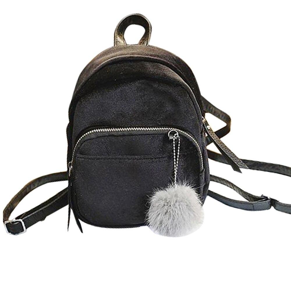 b0310ae520ff Best buy Mini Fur Ball Backpack Fashion Shoulder Bag Solid Women Girls Travel  School Bags Satchel Rucksack Wholesale Drop Shipping  F online cheap