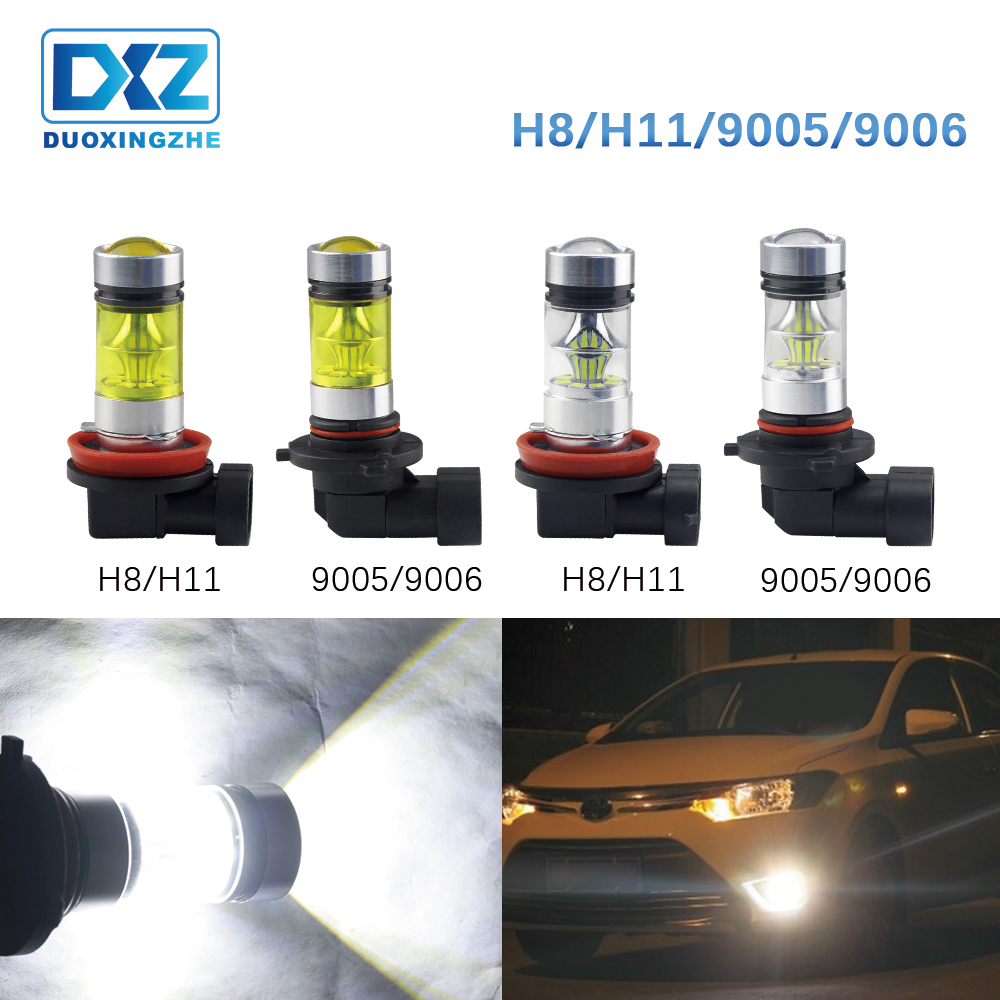DXZ 1X LED Yellow Fog Light Lamp H8 H11 H9 9006 HB4 9005 HB3 Daytime Running Light DRL 12V 3030 20SMD Turning Parking Bulb 6000K
