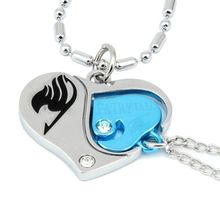 Gift Valentine Lovers Couples Rhinestone Necklace Pendant Heart Design