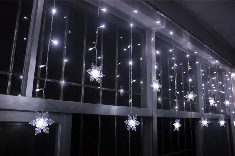 yimia 35m snowflake led curtain lights icicle fairy string christmas holiday lights gerlyanda new year wedding party decoration