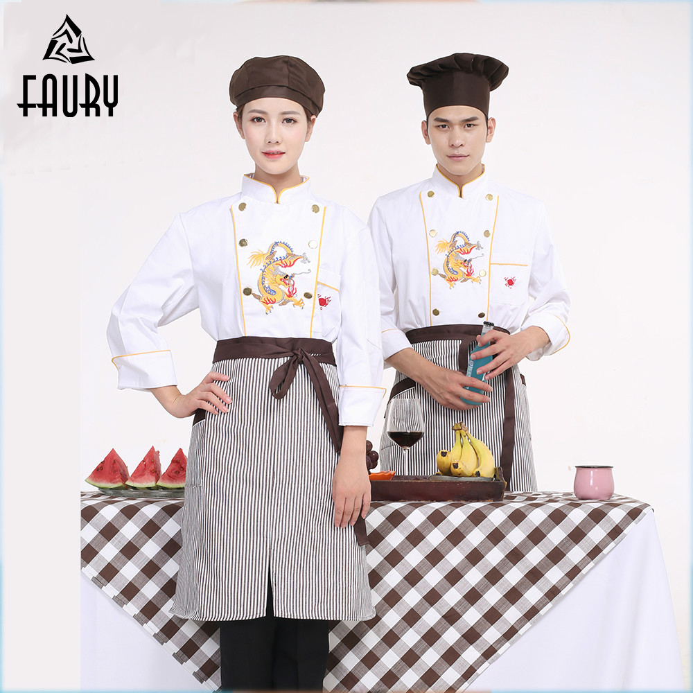 Wholesale Chef Uniforms Men Women Restaurant Kitchen Jackets Apron Cook Work Wear Embroidery Dragon Long Sleeved High Quality