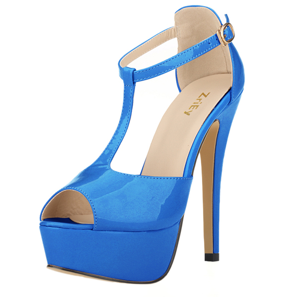 Women Platform High Heel Sandals Sexy Peep Toe Ankle Strap Stilettos Women Pumps T-Strap Party Wedding Shoes 817-19PA