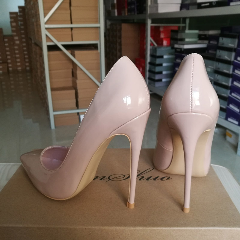 GENSHUO Women Pumps Heeled Shoes Nude Pointed Toe Sexy High Heel Shoes Stiletto High Heels Ladies 12 10 8 cm Big Size 42 11