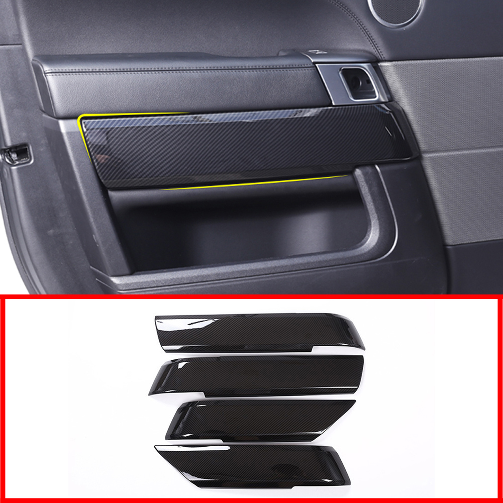 Carbon Fiber Style ABS Car Accessories Interior Door Decoration Cover Trim Panel for Land Rover Range Rover Sport L494 2014 2019