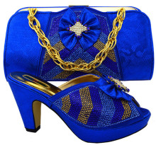 New fashion heel 10CM rhinestone and bowtie style african shoes match handbag set ladies pumps for dress MM1028 royal blue high quality fashion rhinestone slipper shoes and bag set italian style woman shoes and bag set for party dress black bch 19