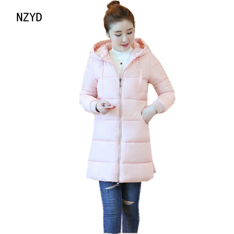Women Winter Coat 2017 New Fashion Hooded Warm Medium long Solid color Cotton Jacket Long sleeve Slim Big yards Parkas LADIES296 2017 new winter fashion women parkas hooded thick super warm medium long coat casual slim big yards cotton padded jacket nz308