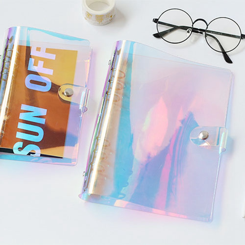 2018 NEW A5 A6 PVC Rainbow laser Transparent Notebook diary Cover Glitter Loose leaf Note Book Planner Clip Office Supplies jianwu 2018 new a5 a6 pvc creative laser binder loose notebook diary loose leaf note book planner office supplies