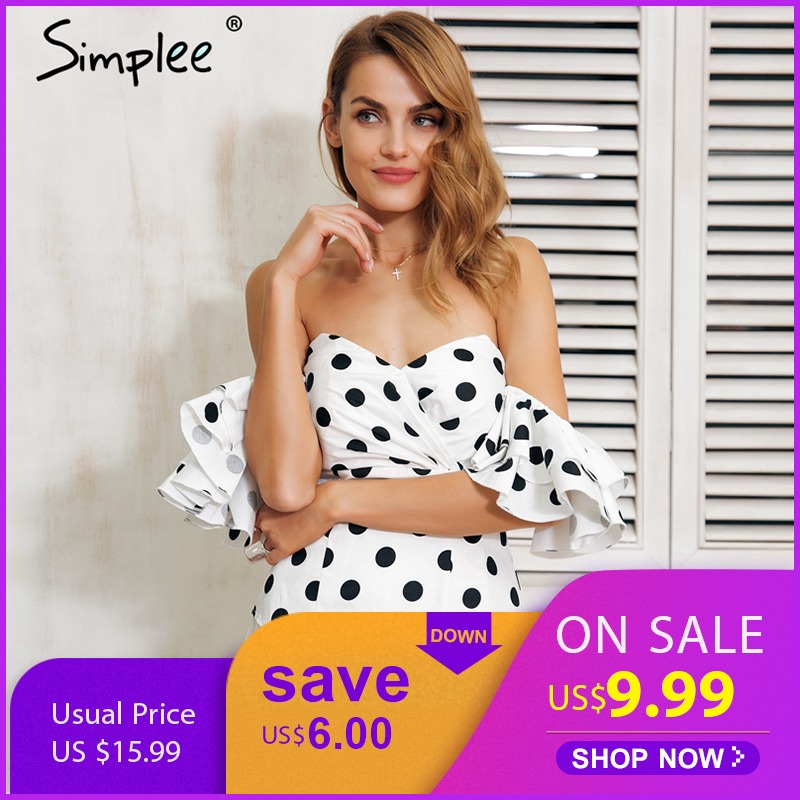 Simplee Polka dot off shoulder ruffle blouse shirt women Sexy butterfly sleeve backless black blouse 2019 Summer blouse top Блузка