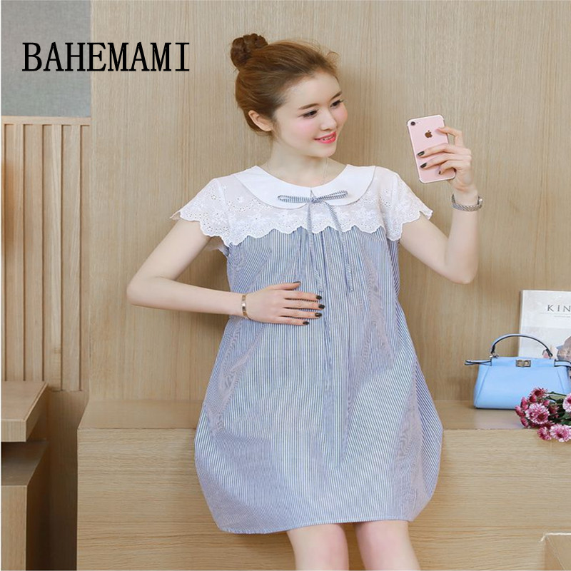 BAHEMAMI Maternity dress lace Maternity patchwork summer clothing Pregnant Women bow Pregnancy cotton clothes 2018 new