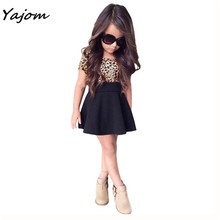 2017 New Hot Sale Fashion Kids Baby Girls Leopard Printing Short Sleeveless Dress Clothes Brand New High Quality Mar 7