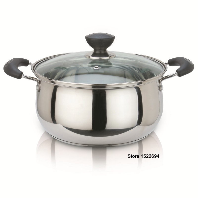 Dia 24cm Multi Purpose Soup Pot Stainless Steel Pot with Toughened Glass Cover Kitchen Pot for Gas and Induction Cooker