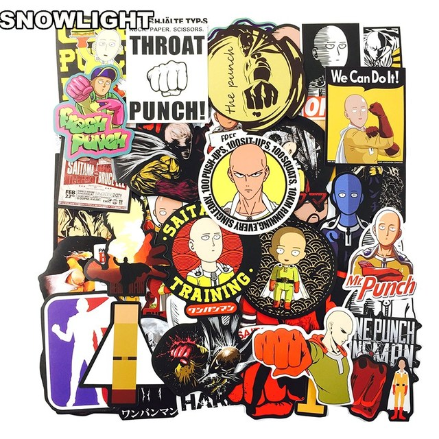 50pcs ONE PUNCH-MAN Skateboard Stickers Graffiti Laptop Luggage Decals Car Cup