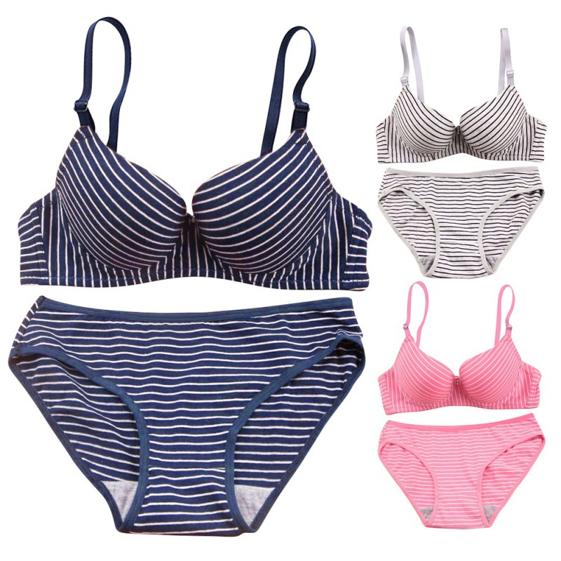 Romantic Temptation Bra and Brief Set Sexy Women Girls Striped Push Up Bra Sets T6