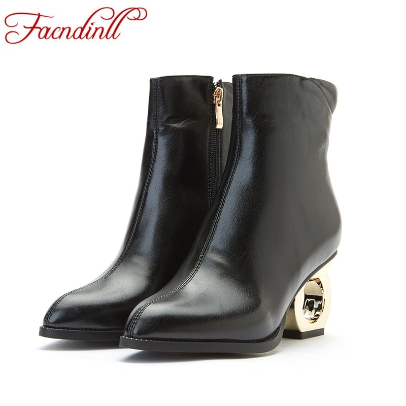 FACNDINLL spring autumn boots strange style high heels punk boots leather ankle boots ladies black gray casual shoes botas mujer