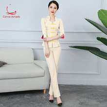 New autumn and winter cosmetologist work clothes trousers foot massage salon shop technician set health shop