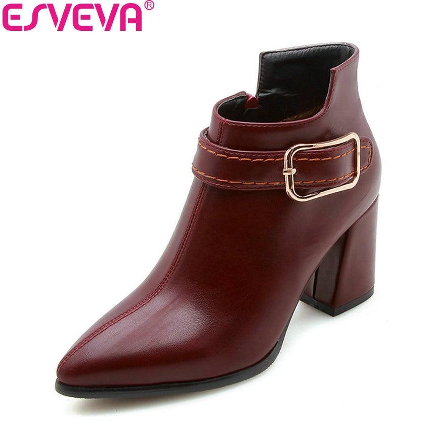 Esveva 2019 Frauen Schuhe Zipper High Heels Winter Schuhe