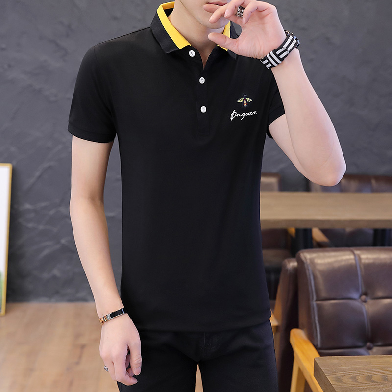Bee Brand Casual Men's   Polo   Shirt Eden Park Cotton Healthy Shirts Solid Color Slim Stitching Short Sleeve   Polos   Size M-4XL;YA253