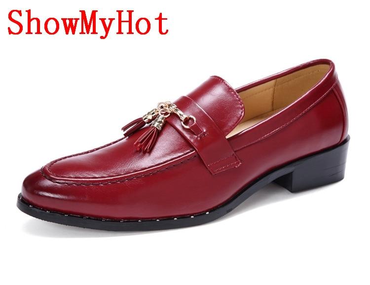 ShowMyHot nueva llegada Bullock borla británica zapatos puntiagudos hombres remaches casual Oxford zapatos hombres negocios boda zapatos-in Zapatos formales from zapatos    1