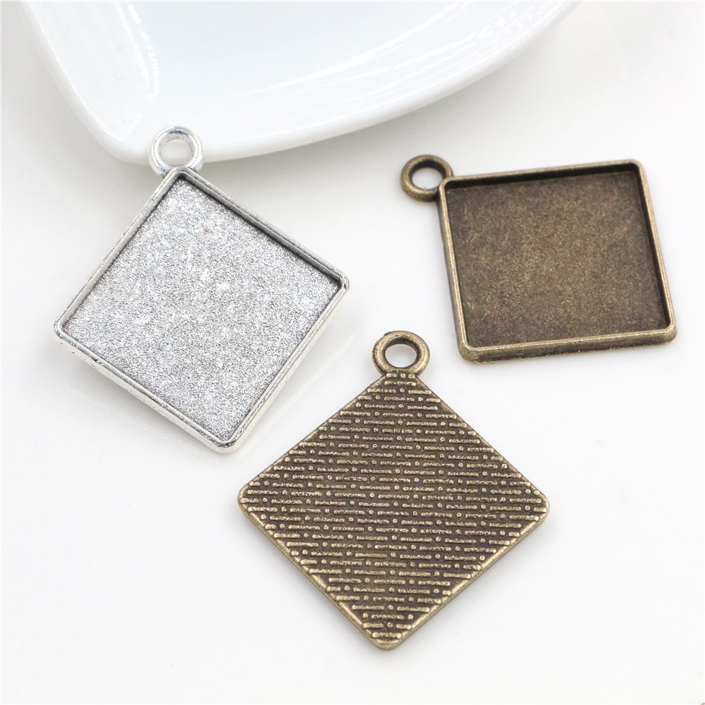 New Fashion 10pcs 20mm Inner Size Bronze Silver Plated Square Cabochon Base Setting Pendant,Fit  20mm Square Glass Cabochons