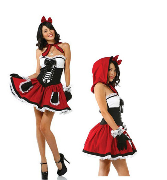 Little Red Riding Hood Costume for Women Fancy Adult Halloween Cosplay Fantasia Dress