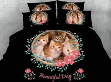 цена на Cat bed set 3D Bedding set Luxury bed sheet Cotton Brand duvet cover bed in a bag linen Super King Queen size twin full 4pcs