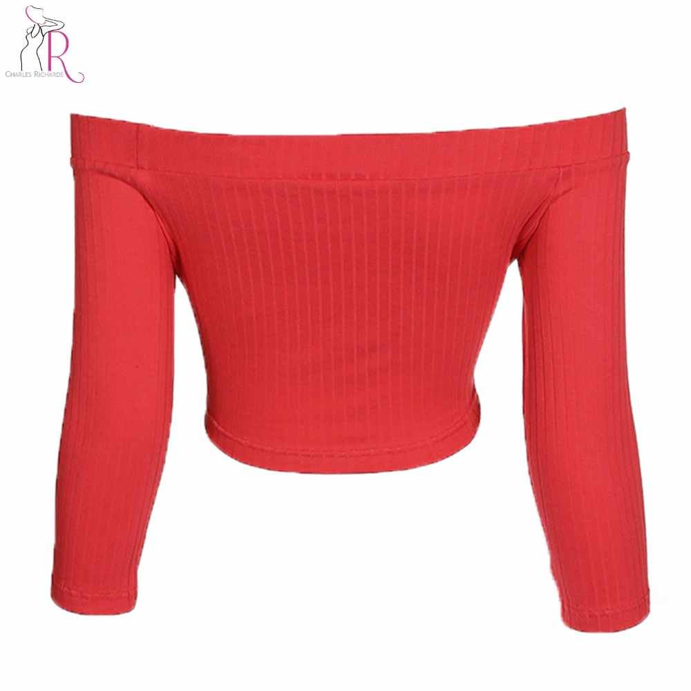 0982cb2f4d447 Solid Red Off Shoulder Long Sleeve Ribbed Cotton Crop Top Tees Women High  Street Style 2018 Spring Autumn Slash Neck Tee Top-in T-Shirts from Women s  ...