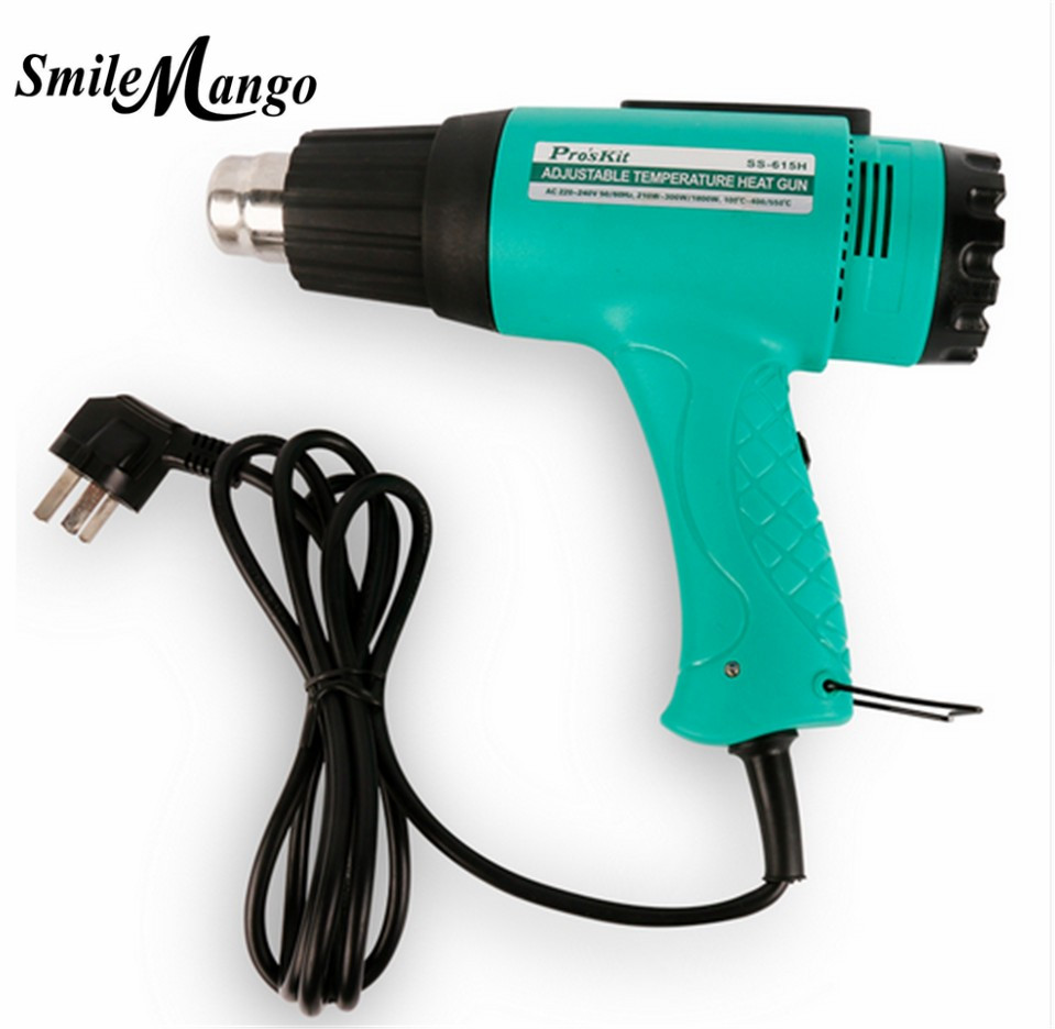 2017 High Quality SS-615H 1800W hot air gun handheld thermostat drying shrinkage than plastic welding (AC 220V-240V) ems dhl fast shipping 230v 3000w heat element for for heat gun handheld hot air plastic welder gun plastic welder accessories