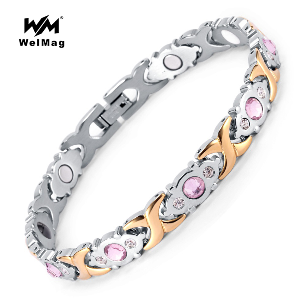 цена WelMag 2018 Fashion Crystal Gem Woman Magnetic Bracelet Top Quality Stainless Steel Germanium Healing Jewelry Bio Energy Bangles