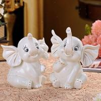 Simulation Animal Couples Elephant Statue Ceramic Craftwork Home Interior Design Gift L2941